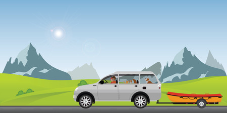Boat towing car on road running along on a sunny spring day in the holiday, Family vacation travel, boat on a trailer, banner on the theme of fishing, camping, adventures in nature vector illustration.