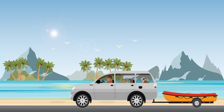 Boat towing car on road running along the sea coast, boat on a trailer, banner on the theme of fishing, camping, adventures in nature vector illustration.
