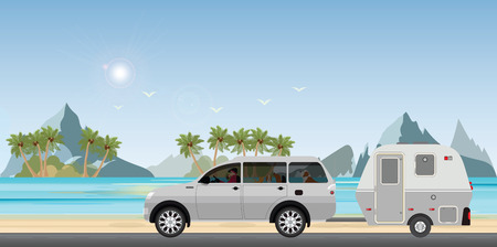 Caravan car driving car on road on the beach in the holiday, Family vacation travel, holiday trip in motorhome, Caravan car Vacation in flat design vector illustration.