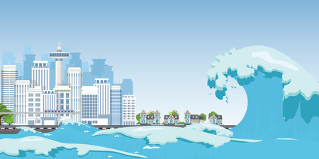 City on seashore destroyed by Tsunami waves, Natural disasters vector illustration. 일러스트