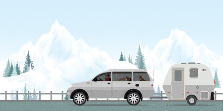 Happy couple driving car on road in winter with snow and cold in the holiday, Family vacation travel, holiday trip in motorhome, Caravan car Vacation in winter holiday trip flat design vector illustration.