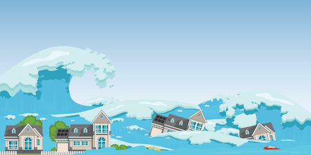 House destroyed by Tsunami waves.Tsunami tidal wave washing through houses and cars out of the way, Natural disasters vector illustration.