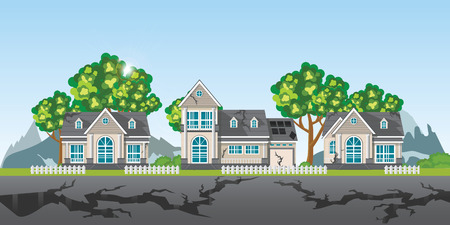 The earthquake destroyed village of houses and street, Natural disasters vector illustration. Vetores