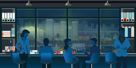 Coworking office interior modern with business people, co working, taking together in front of window with night cityscape view outside, vector illustration.