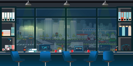 Coworking office interior workplace with in front of window on night cityscape view outside, interior modern center creative workplace horizontal banner empty workspace, vector illustration.