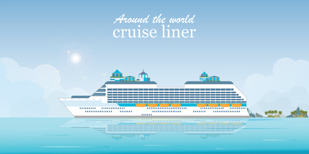 Cruise liner passenger ship, Sea Voyage, Ocean traveling visual vector illustration.