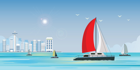 Blue sea view with luxury sailing ship yacht in the sea on city view background, Yachting active sport, Summer travel and holidays concept vector illustration.