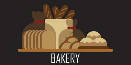 Bread logo for bakery isolated on black background, vector background Иллюстрация