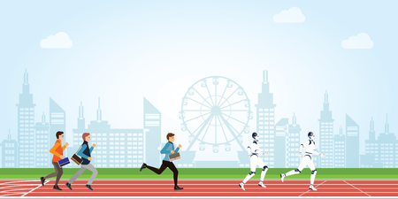 Business competition with human and Artificial Intelligence cartoon on athletic track on city view background, business conceptual vector illustration.