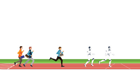 Business competition with human and Artificial Intelligence cartoon on athletic track on white background, business conceptual vector illustration. Иллюстрация