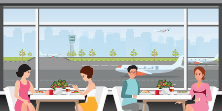 Departure lounge at the airport with people sitting with seating and table with aircraft preparing for flight in the background, Business traveler at airport waiting lounge, vector illustration. Иллюстрация
