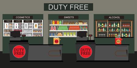Negozio duty free con cassa da banco, scaffale di alcolici, dolci e cibo per esentasse, illustrazione vettoriale piatta.