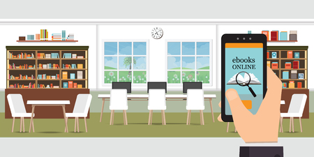 Ebook online modern library interior with bookshelves, Online library, education vector illustration.