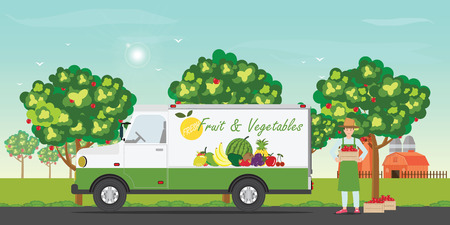 Fresh fruit delivery car with the farmers smiling and holding fresh apples, Vector illustration.