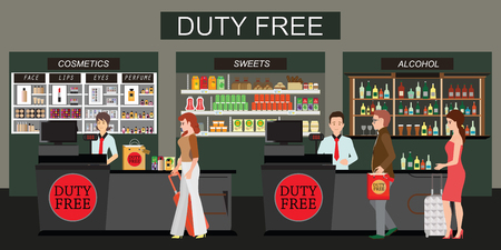 Happy people standing at the counter in duty free store, People buying cheap cosmetics, alcohol and food. Tax free. Vector flat illustration