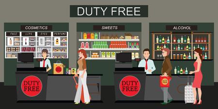 Persone felici in piedi al bancone del negozio duty free, persone che acquistano cosmetici economici, alcol e cibo. Senza tasse. Illustrazione piatta vettoriale