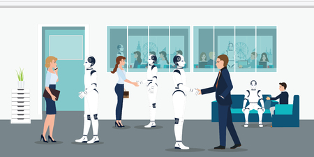 Human and robots office workers. People and Humanoids handshaking. working together, business and artificial Intelligence Concept vector illustration. Иллюстрация