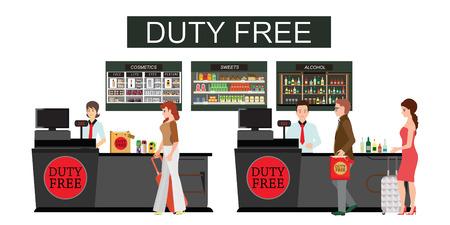 Persone in piedi al bancone nel negozio duty free isolato su bianco. Persone che acquistano cosmetici economici, alcol e cibo, esentasse, illustrazione vettoriale piatta Vettoriali
