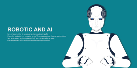 Portrait of human robot , Artificial Intelligence cartoon on white background, conceptual vector illustration.
