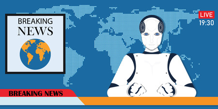 Robot Android breaking hot news anchor or cyber newscaster, Artificial Intelligence computer machine instead human reporter , cartoon Vector illustration.