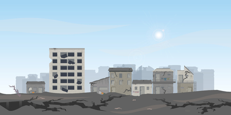 The earthquake destroyed houses and street, Natural disasters vector illustration.