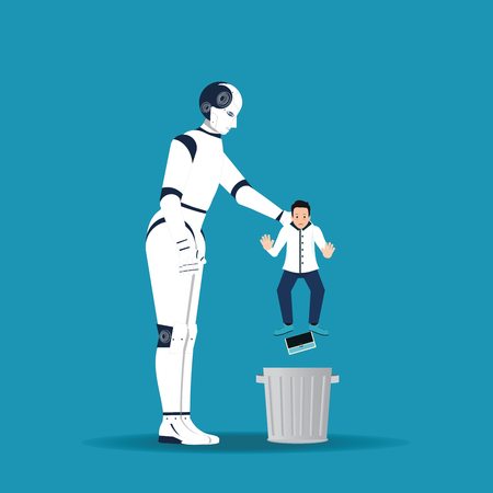 Big robotic hand holding little businessman in order to throw him into trash can. AI replaces human intellect. Business failure. Get fired.cartoon design conceptual vector illustration.