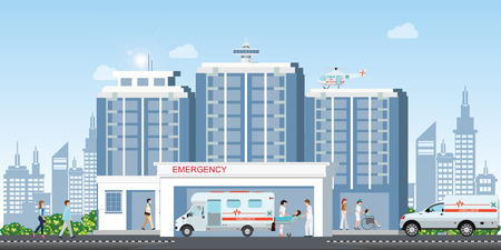 Hospital building with ambulance car and medical emergency chopper helicopter medical with doctors working, healthcare concept vector illustration.