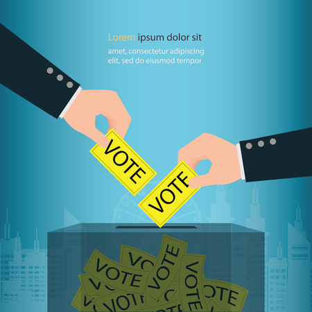 Human hand holding election vote ballot in ballot boxes, vote political design conceptual vector illustration. Иллюстрация