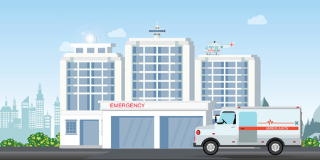 Modern hospital building with ambulance car and medical emergency chopper helicopter medical clinic exterior, health and care vector illustration.