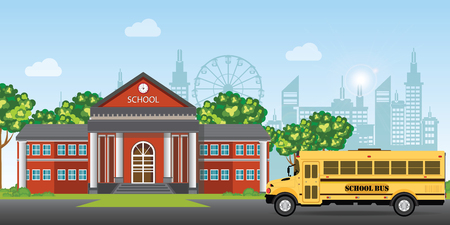Modern school building. college building on city street background, with school bus and front yard. Vector illustration.