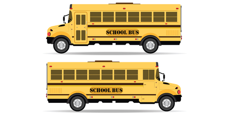 Yellow school bus icon isolated on white background. side view school bus. Back to school vector Illustration.