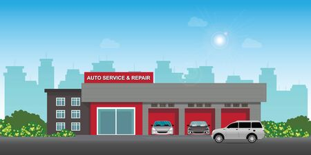 Auto car service and repair center or garage with cars, landscape exterior building car service station vector illustration. Иллюстрация