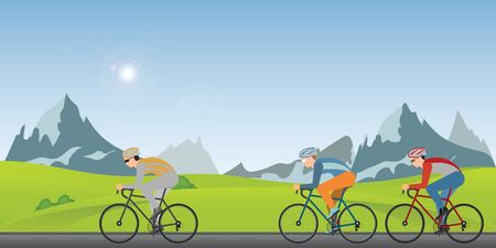 Group of cyclists man in road bicycle racing  along on a sunny spring day in the holiday. Vector illustrator. Иллюстрация