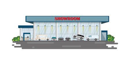 Modern car dealership centre showroom building, automobile showroom exterior vector illustration.