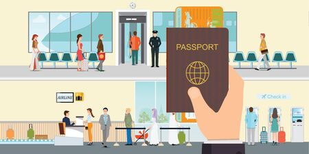 Hand holding passport book and boarding pass at the airport.People check-in at the airport with counter service, self service check in, business travel conceptual vector illustration.