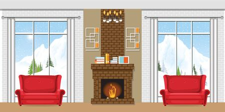 Winter home interior with a fireplace and winter mountain view through the window. Vector illustration of a winter vacation.