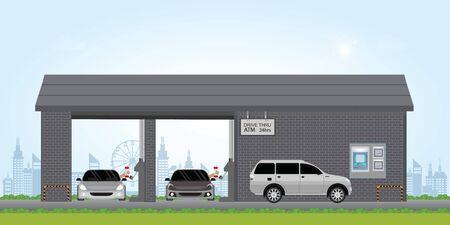 cassiere di banca guidare attraverso la corsia. Atm drive thru lane presso la banca, illustrazione vettoriale.