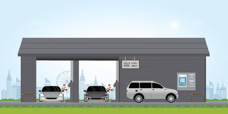 El cajero del banco atraviesa el carril. Atm drive thru lane en el banco, ilustración vectorial.
