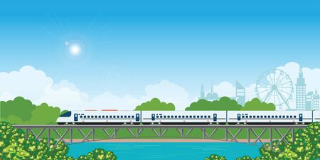 Speed train on railway bridge with forest and city view on background.  travel concept background. travel on summer Vector illustration. Иллюстрация
