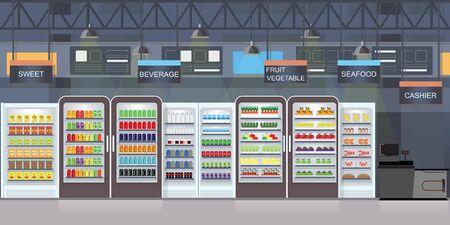 Interno del supermercato con le merci sugli scaffali e sul cassiere del bancone, illustrazione di vettore del grande centro commerciale. Vettoriali