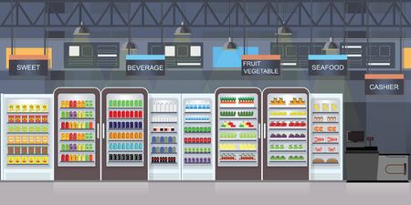 Supermarket interior with goods on shelves and counter cashier, big shopping mall  vector illustration.