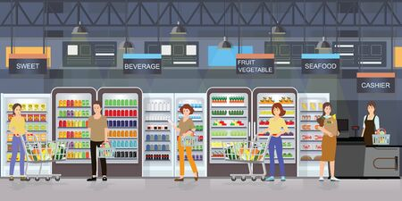 People shopping in supermarket interior with goods on shelves and counter cashier, big shopping mall  vector illustration. Stock Illustratie