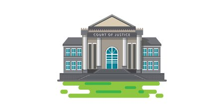 Modern court building, house of justice isolated on white background, architect vector illustration. Фото со стока - 129274348
