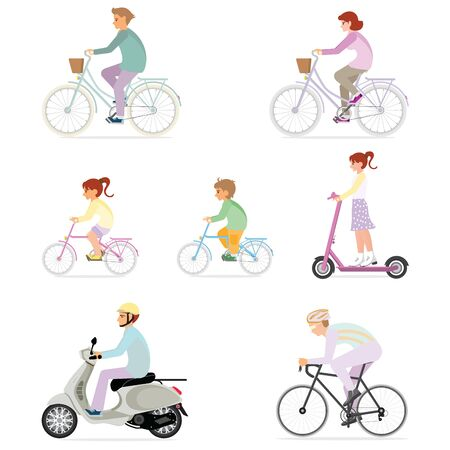 Set of people riding modern personal transportation isolated on white. people ride bicycles, scooters and electric scooters,  Vector illustration. Иллюстрация