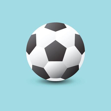 Soccer ball icon flat vector illustration on blue   background. Vector illustration. Иллюстрация