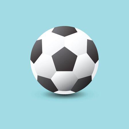 Soccer ball icon flat vector illustration on blue   background. Vector illustration. Ilustracja