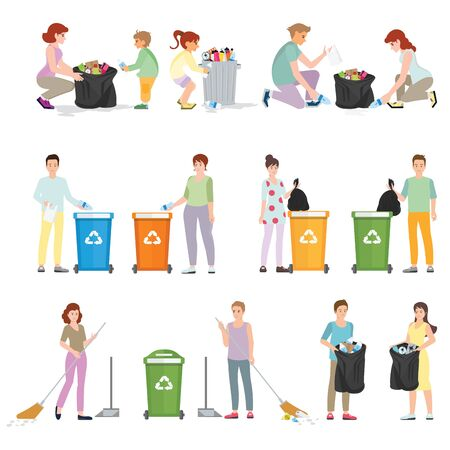 Volunteers clean up wastes. People collecting trash into bags isolated on white. Pollution of seaside with different kinds of garbage. Ecology Protection Concept Cartoon Flat Vector Illustration. 일러스트