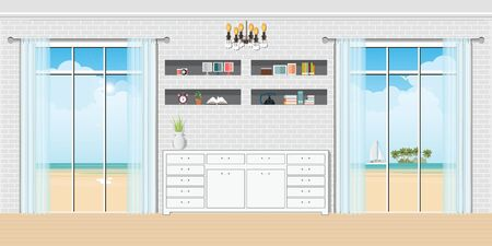 Cozy Living room interior view through the window seaside. design template in flat style Vector illustration.