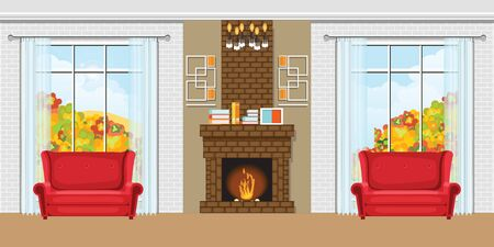 Cozy Living room interior with fireplace and red chairs, view through the window autumn view. design template in flat style Vector illustration.