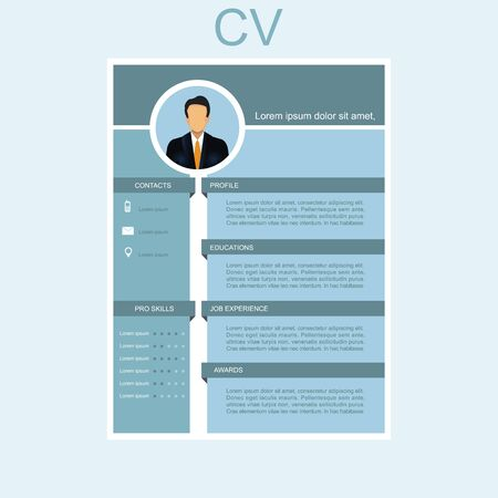 CV for businessman. Personal Resume. Male resume with infographic design Vector illustration. Иллюстрация